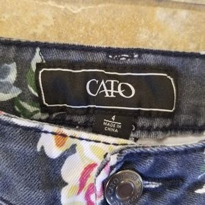 Cato Shorts - Cato Good Condition Blue Floral Jean Short Shorts